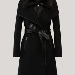 NORI wool coat with removable shearling bib | MACKAGE | Mackage