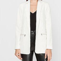 Striped Zip Pocket Cropped Business Blazer Stripe Women's S | Express