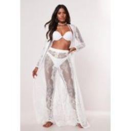 White Premium Lace Beach Pants | Missguided (US & CA)