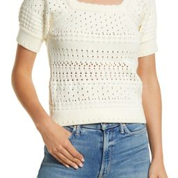 Leandra Pointelle Stitch Short Sleeve Sweater | Nordstrom