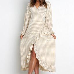 Ada Dress - Beige Gingham   Petal & Pup (US)