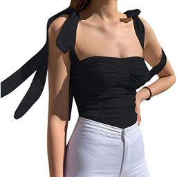 Velius Women's Sleeveless Camisole Tie Shoulder Mesh Strap Tank Crop Tops | Amazon (US)