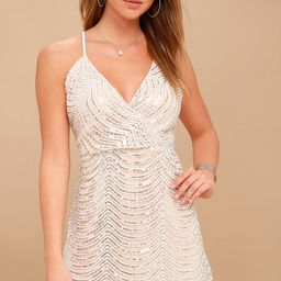 Lele White and Silver Sequin Mini Dress   Lulus (US)