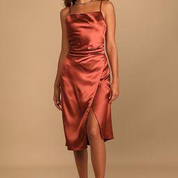 Hollywood Woman Bronze Satin Midi Dress | Lulus (US)