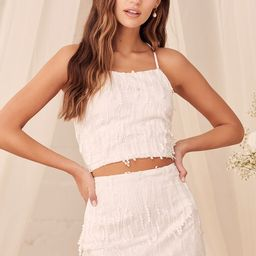 Dancing in a Dream White Fringe Lace-Up Two-Piece Mini Dress   Lulus (US)
