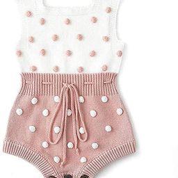 Askwind Baby Girls Knit Striped Polka Dot Romper Cute Strap Sleeveless Jumpsuit Bodysuit   Amazon (US)