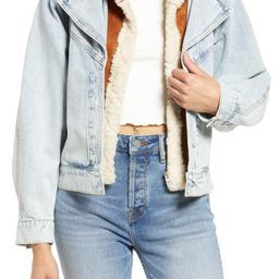 Women's Moto Denim Jacket with Removable Faux Fur Hood   Nordstrom
