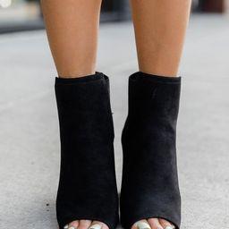 Eliana Black Block Heel Open Toe Booties | The Pink Lily Boutique