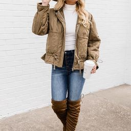 Midnight Shadows Olive Quilted Bomber Jacket | The Pink Lily Boutique