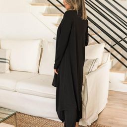 A New Dawn Black Ribbed Duster Cardigan | The Pink Lily Boutique