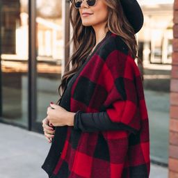 Bundled By The Fire Plaid Poncho   The Pink Lily Boutique