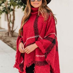 Stay Classy Red Plaid Poncho   The Pink Lily Boutique