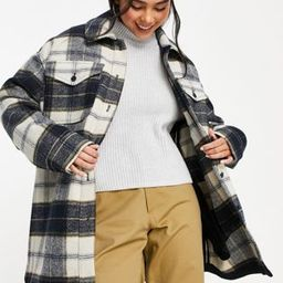 Weekday recycled oversize shacket in black and white check print   ASOS   ASOS (Global)