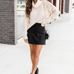 Beautiful Sound Black A-Line Suede Skirt   The Pink Lily Boutique