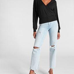 Solid Wrap Front Sweatshirt   Express