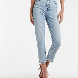 Super High Waisted Medium Wash Button Fly Mom Jeans   Express