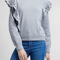 Eyelet Lace Ruffle Sleeve Sweatshirt | Express