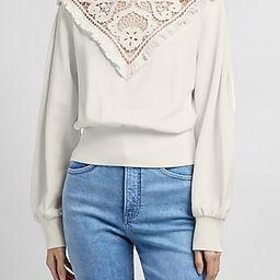 Ruffle Lace Mock Neck Sweatshirt | Express