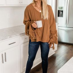 By The Firelight Brown Fringe Sweater | The Pink Lily Boutique