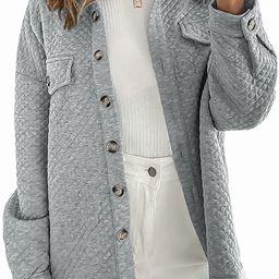 MUXERI Women's Long Sleeve Button Down Diamond Soft Oversized Shacket Quilted Jacket Coat Outwear... | Amazon (US)