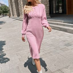 Lantern Sleeve Ruched Sweater Dress | SHEIN