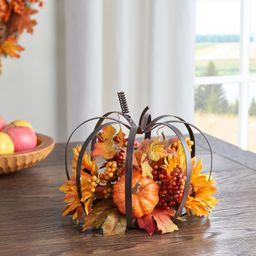 "Way to Celebrate Harvest Yellow Sunflowers Pumpkin Metal Frame Floral Tabletop Decor, 9"" - Walmar...   Walmart (US)"