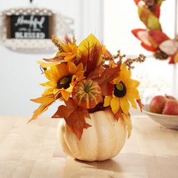 "Way to Celebrate Yellow Sunflower in Foam Pumpkin Pot Decorative Arrangement, 12"" - Walmart.com   Walmart (US)"