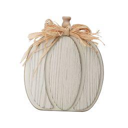 Way To Celebrate White Wooden Pumpkin; Harvest Decor - Walmart.com   Walmart (US)