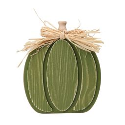 Way To Celebrate Green Wooden Pumpkin; Harvest Decor - Walmart.com   Walmart (US)
