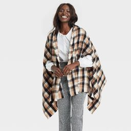 Women's Plaid Wrap Jacket - A New Day™ Brown One Size | Target