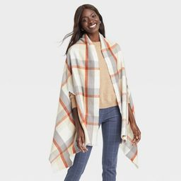 Women's Plaid Wrap Jacket - A New Day™ Cream One Size | Target