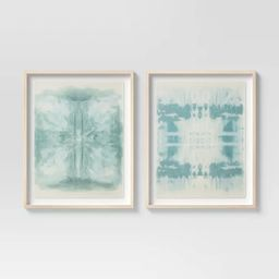"(Set of 2) 24"" x 30"" Burlap Framed Wall Art Teal - Threshold™ | Target"