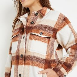 Plus Size Neutral Plaid Longline Wool Shacket | Maurices