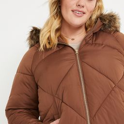 Plus Size Brown Faux Fur Hooded Puffer Jacket | Maurices