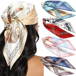 23.6 Inches Satin Head Scarves for Women 4PCS Square Silk Like Hair Scarves Silk Hair Bandanas   Amazon (US)