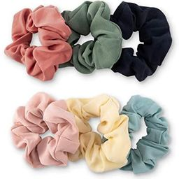 YOHAMA 6 pcs Fashion Solid Colors Fabric Elastic Hair Scrunchies Good for Girls Women Wrap Simple...   Amazon (US)