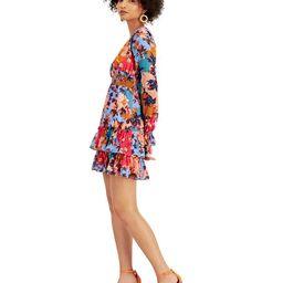 Bar III Floral-Print Ruffled V-Neck Mini Dress, Created for Macy's & Reviews - Dresses - Women - ... | Macys (US)