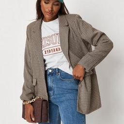 Missguided - Brown Houndstooth Oversized Blazer   Missguided (US & CA)