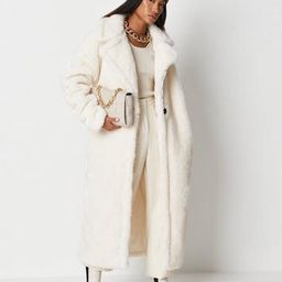 Missguided - White Teddy Borg Seam Detail Longline Coat   Missguided (US & CA)