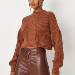 Missguided - Camel Cable Knit Cropped Sweater   Missguided (US & CA)