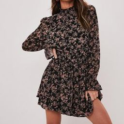 Missguided - Black Floral High Neck Shirred Mini Dress   Missguided (US & CA)