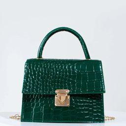 Croc Embossed Push Lock Flap Chain Bag | SHEIN