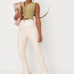 Missguided - Cream Faux Leather Kick Flare Pants   Missguided (US & CA)