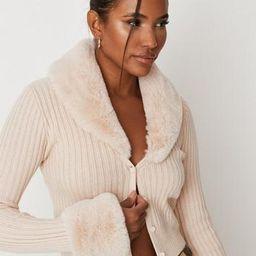 Missguided - Cream Rib Faux Fur Trim Knit Cardigan   Missguided (US & CA)