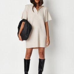 Missguided - Cream Rib Knit Collared Half Zip Mini Dress   Missguided (US & CA)