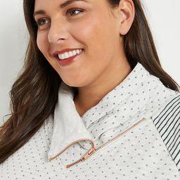 Plus Size Oatmeal Striped Sleeve Asymmetric Cowl Neck Sweatshirt | Maurices