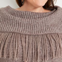 Plus Size Cowl Neck Fringe Sweater | Maurices