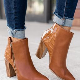 Randi Camel Snakeskin Leather Booties   The Pink Lily Boutique