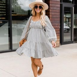 Apple Picking Navy Gingham Mini Dress   The Pink Lily Boutique