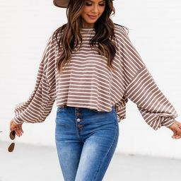 Sunday Stroll Brown Striped Long Sleeve Blouse   The Pink Lily Boutique
